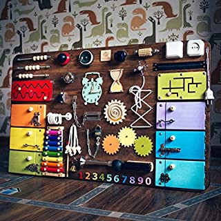 Busykids-2 Handmade Wooden Busy board, Clever Puzzles, Locks and Latches Activity Board (Braun)