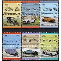 Auto 100 Automobiles Serie 5 6 auto d'epoca paia bollo automobilistico / Bequia Grenadines di St. Vincent / 1986 /