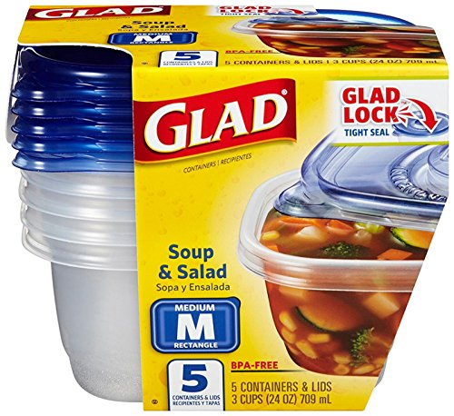 Pack of 7 Tall Entrée Container Glad Food Storage Containers 42 oz 3 ea