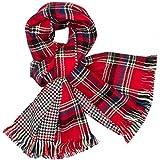 CASPAR - Écharpe à carreaux unisexe - châle avec motif écossais - étole XXL - plusieurs coloris - SC411, Farbe:rot