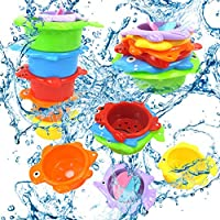 Sugely Bath Stacking Cups, 6 Pack Nesting Cups for Toddlers, Easily Stackable Brightly Colored and EN71 Safety Standard Bath Toys, Happy Choice for Bathtubs