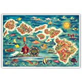 Die Dole Karte Der Hawaii-Inseln - Aus Dem Hawaiisch Ananas Firma von Joseph Fehér 1022 - hawaiianischer Kunstdruck - 33cm x 48cm
