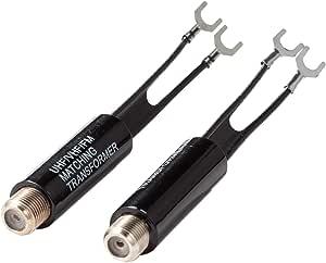 Corrispondenza trasformatore da 75a 300Ohm balun converter per cavo antenna coassiale e su TV ricevitore radio tuner Confezione da 2