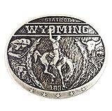 Westernwear-Shop Gürtelschnalle Wyoming Silber Gürtelschnalle Gürtelschließe Western Belt Buckle Westerngürtelschnalle Rodeo Vintage Silber
