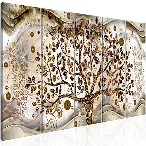 Murando quadro acustico su fliselina albero klimt 200x80 cm protezione dai rumori isolamento acustico 5 pezzi quadri murali xxl fonoassorbente astratto l-c-0005-b-n