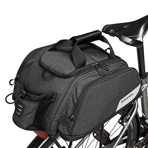 WOTOW Fahrrad Kofferraum Tasche, Fahrrad Pannier Sitz Tasche Radfahren Rücksitz Tote Bag Bike Rear Rack Flaschenhalter Wasserdicht 12L Große Kapazität Tasche erweiterbar für Outdoor-Reiten ... (Rack Bag Radfahren)