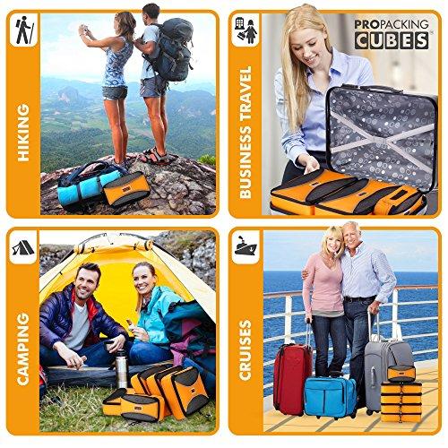 PRO Packing Cubes | Juego económico de 5 organizadores de viaje | Bolsos ahorradores del 30 % de espacio | Organizadores ultraligeros de equipaje | Ideales para bolsos de viaje, maletas y mochilas