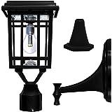 Gama Sonic GS-114B-FPW-BLK Prairie Bulb Lamp Outdoor Solar Light Fixture, Pole Pier & Wall Mount Kits, Black