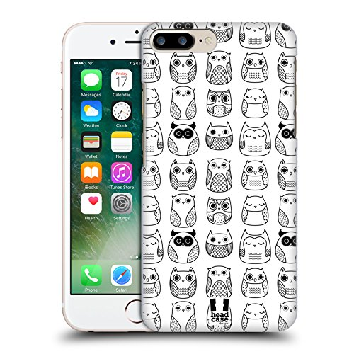 Head Case Designs Fiori E Foglie Doodle Gufi Cover Retro Rigida per Apple iPhone 7 Plus / 8 Plus Bianco In Line