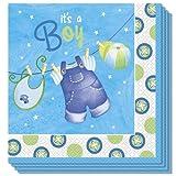 16 Boy'blau s, Wäscheleine, für Baby-Shower-Party, Einweg, Papierservietten, 33 cm