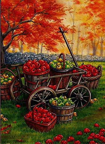 dyrenson Home Dekorative Satin Apple Harvest Garten Flagge Doppelseitig, Herbst Farm House Yard Flagge, rustikaler Ernte Yard Dekorationen, Maple Leaf Seasonal Outdoor Flagge 12,5x 18 - Satin-ernte