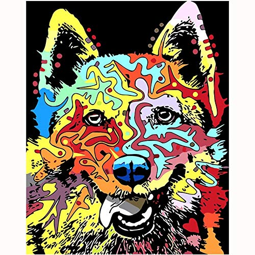 Pop Art Kostüm Mädchen - RYUANYUAN Tier Hund Kunst Malerei Zahlen Bild Nach Anzahl Digitale Bilder Färbung Von Hand Einzigartiges Geschenk Raumdekor Home Pop-Art 16x20 inch (40x50 cm) Rahmenlos