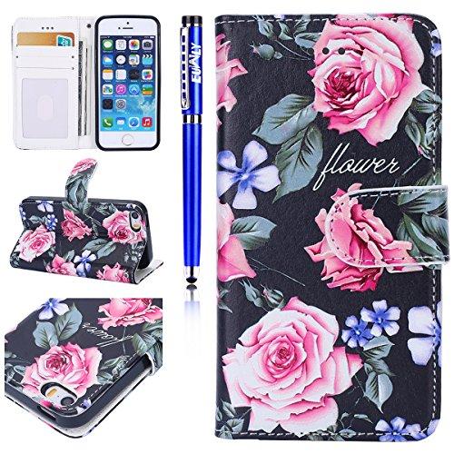 Custodia iPhone 6 Plus/iPhone 6s Plus (5.5), EUWLY Flip Cover Leather Wallet Case Custodia per iPhone 6 Plus/iPhone 6s Plus (5.5) in PU Pelle, Bling Bling Custodia Cover con Ultra Sottile Interno Si Fiori Rose
