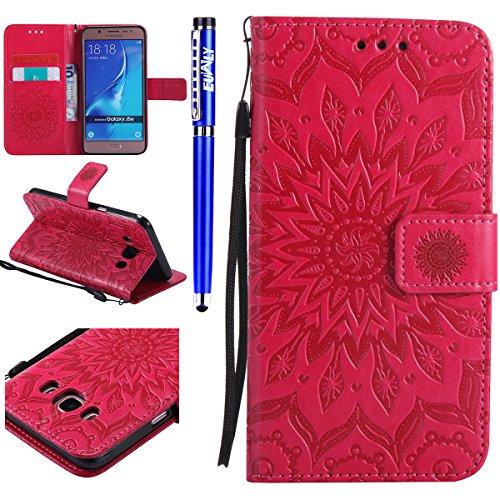 FESELE Kompatibel mit Galaxy J5 2016 Leder Handy Hülle, Sonnenblume Mandala Blumen Muster Flip Case Wallet Case Flip Schutzhülle Brieftasche Hülle Klapphülle mit Kartenfach,Rose