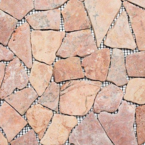 Naturstein rot Bruch Ciot Rossoverona für BODEN WAND BAD WC DUSCHE KÜCHE FLIESENSPIEGEL THEKENVERKLEIDUNG BADEWANNENVERKLEIDUNG Mosaikmatte Mosaikplatte ()
