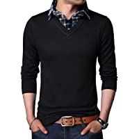 Yingqible Mens Casual Long Sleeve Pullover Knitwear Sweater V-Neck Knitted Jumper with Mock Shirt Collar Insert