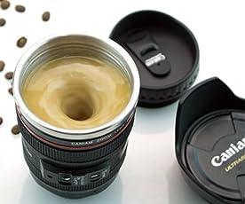 Okayji Self Stirring Camera Lens Caniam Stainless Steel Coffee Mug, Black