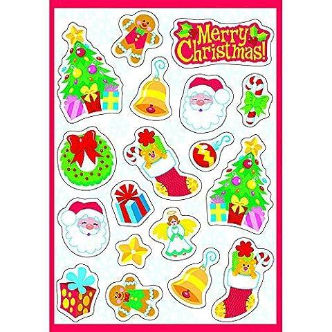 German Trendseller® - 18 x autocollants de Noel┃ Merry Christmas sticker ┃ pain d'épices, sapin de Noel, cloche, ange, père de Noel ┃Joyeux Noel!