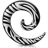 Tata Gisèle - Dilatatore per orecchio in acciaio chirurgico – dilatatore a spirale nero zebrato – 6 mm