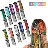 Peines de Tiza de Colores para el Pelo 10 colores temporales de cabello Tinte no tóxico Color de Tiza para niñas y niños Pelo teñido, Fiesta, Navidad y Cosplay