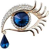 Qiwenr Rhinestone Ángel lágrimas Ojos Broche,Lágrima de Angel Crystal Rhinestone Diamond Encanto Ojos lágrima Gota Cristal Br