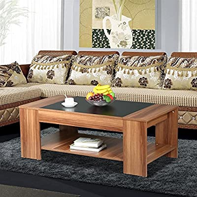 tinkertonk Modern Living Room 2 Tier Square Wood Coffee Table Cocktail Table Sofa Side End Table with Storage Shelves - inexpensive UK light store.