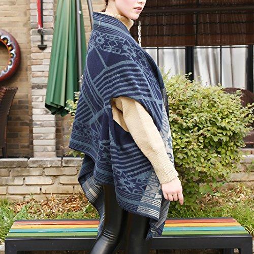 Poncho da Donna Scialle, Cardigan a Maglia Donna, Moon mood® Inverno Tartan Mantello Reversibile Donna Maglione Cappotto Grandi Coperta Sciarpa Casuale Elegante Spessore Scialli Double Face Stile 1