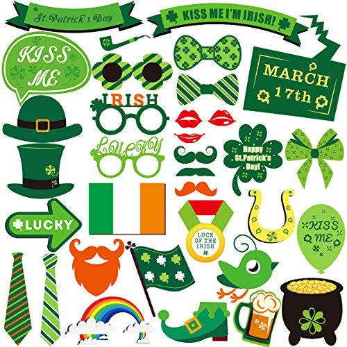 LUOEM St Patrick Foto Booth Requisiten Kit Irish Festival Foto Requisiten Spielzeug St. Patrick's Day Party Dekoration 34ST
