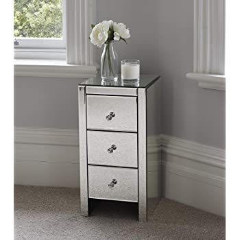 Other Mirrored Glass Bedside Table Cabinet 3 Drawers And Glass Handles Mirror  Furniture