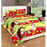 Sidhi 3D Print Polycotton 120TC Double Bedsheet With Two Pillow Cover (90X100 Inches) 3D Print Multicolour