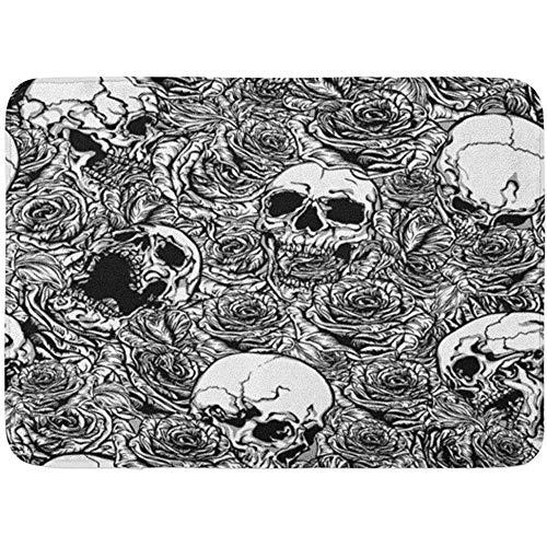Antiscivolo zerbini,tappeti da bagno tappetino per porte per interni ed esterni tarocco verde modello in bianco e nero di teschi rose sulla morte tatuaggi ossa tappeto arredo bagno 60 x 40 cm