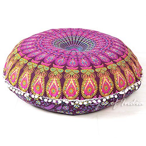 Eyes Of India - W32 Mandala Boden Meditation Sitzkissen Kissen Überwurf Hippie Rund Dekorativ Bohemian Boho Hundebett Indische nur Cover - lila #2 - Mandala Hippie