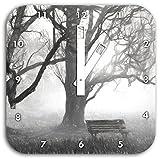 Baum und Bank im Nebel Kohle Effekt, Wanduhr Quadratisch Durchmesser 28cm mit weißen eckigen Zeigern und Ziffernblatt, Dekoartikel, Designuhr, Aluverbund sehr schön für Wohnzimmer, Kinderzimmer, Arbeitszimmer