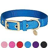 Blueberry Pet Begehrteste Designer Misch-Glanzfaden Hundehalsband in Glitzernd Azurblau mit Metallschnalle, S, Hals 23cm-32cm, Verstellbare Halsbänder für Hunde