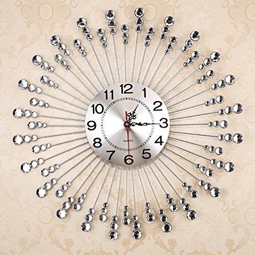 WuuLii Decor Wanduhr-Wohnzimmer Quarzuhr - Art Uhr Wanduhr Modern Mute Eisen Große europäische Mode, Silber - Toskana-altes Eisen