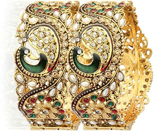 Zeneme Dancing Peacock Antique Gold Plated Bangle/Kada Set Jewellery For Women / Girls  available at amazon for Rs.249
