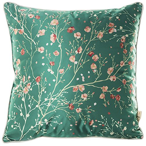 Proud Clothing Faux Silk Blend Pink Floral Print Sofa Seat Cushion Cover Cotton Pillowslip Square Decorative Throw Pillow Case Green 18 X 18'' (Silk Print Floral)