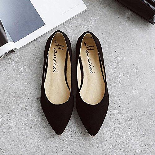 LvYuan-mxx Chaussures plates pour femmes / Printemps été automne / Décontracté / Suède léopard / talons plats pointu orteil / Bureau et carrière Robe / bouche superficielle chaussures BLACK-39