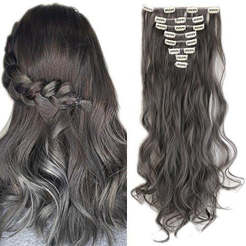 Extension capelli grigi a fasce mosse lunghe sintetiche 60cm 24