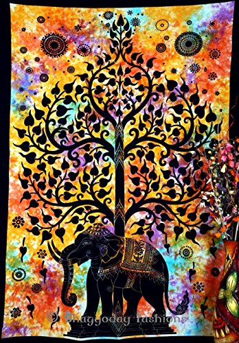 W G Siebdruck (Indian Psychedelic Celestial Elephant Tree Of Life Tapestry ,Good Luck Hand Tie Dye Elephant Tapestry , Hippie Gypsy Wall Hanging , Bhoemain Bed Spread Tapestries , New Age Dorm Tapestry, Bohemain Dorm Decor Elephant Tapestry,)