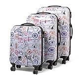 MasterGear ensemble de 3 valises Design mobiles et ultra légères - 4 roulettes (360...