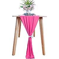 Chemin de table en mousseline de soie rose chaud 29x120 pouces chemin de table transparent réception de mariage coureurs…