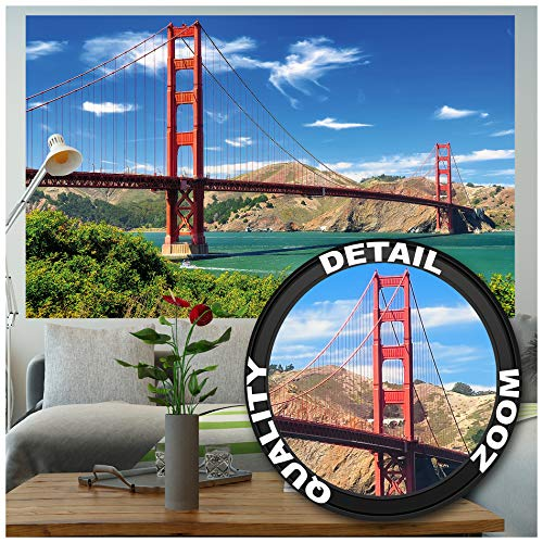 GREAT ART Fototapete - Golden Gate Bridge - Wandbild Dekoration Hängebrücke San Francisco Kalifornien Wanddeko USA Sehenswürdigkeiten Foto-Tapete Wandtapete Fotoposter Wanddeko (210 x 140 cm)