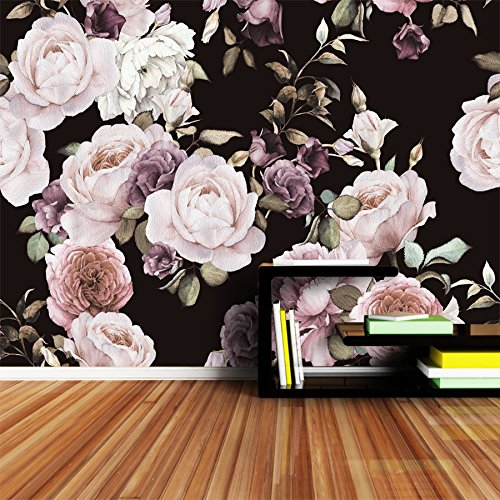 WH-PORP Große benutzerdefinierte 3D Fototapete Rose Pfingstrose Baum Blume Schwarz Weiß Tapeten für Wohnzimmer-300cmX210cm