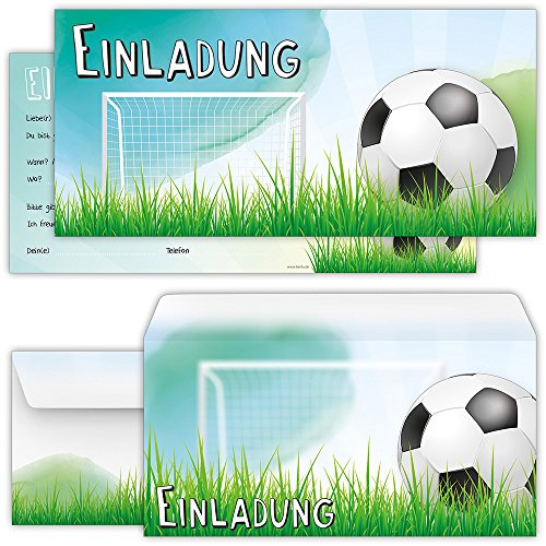beriluDesign Set: 12 große Fussball Einladungskarten mit 12 Umschlägen zum Kindergeburtstag oder zur Fußball-Party | Kinder Geburtstag-Einladungen Karten Feier Jungen