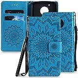 Schutzhülle für Moto G5 Blau,Slynmax Moto G5 Schutzhülle Mandala Blume Handyhülle Blau Wallet Case Tasche PU Leder Flip Cover Handytasche Stand Kartenfächer Magnetverschluss Lederhülle