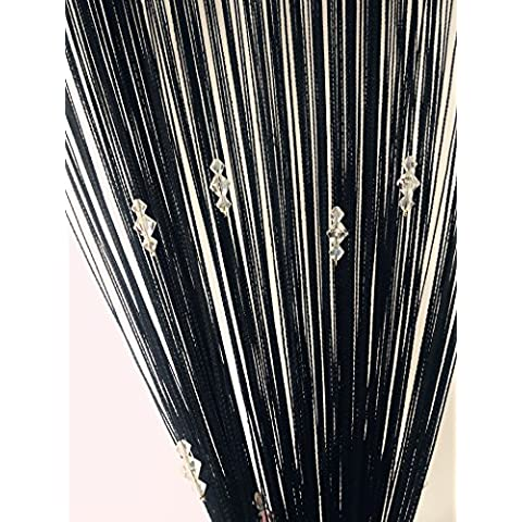 Seguryy Perline Tenda Della Stringa Con 3 Schermo Bead Per Porte E Finestre In Camera Pannello Di Bellezza Decorativa Divisore Mosca Cieca Tassel (Nero)