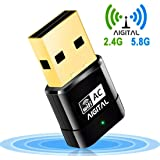 Aigital WLAN Adapter, WiFi Stick 600Mbps Wireless USB Adapter Dualband 2.4G/5.8G AC-Speed bis zu 433 Mbit/s, Nano Größe WPS-fähig Unterstützt Windows 2000/XP/Vista/7/8/10, Mac OS X10.4-10.11
