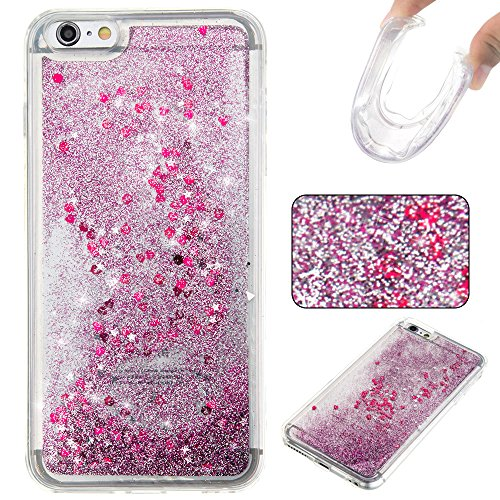 "MOONCASE iPhone 6S Plus Coque, Glitter Sparkle Bling Liquide Transparent Étui Coque pour iPhone 6 Plus / 6S Plus 5.5"" Soft TPU Gel Souple Case Housse de Protection Argenté Violet"