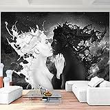 Fototapeten Coffee & Milk 352 x 250 cm Vlies Wand Tapete Wohnzimmer Schlafzimmer Büro Flur Dekoration Wandbilder XXL Moderne Wanddeko - 100% MADE IN GERMANY - Schwarz Weiß Runa Tapeten 9222011a